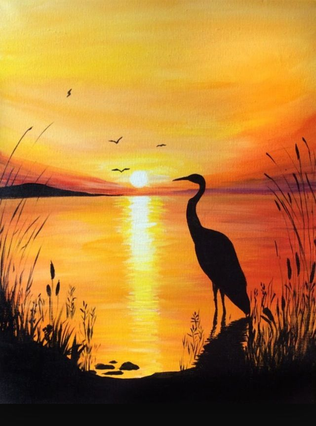 Crane At Sunset Scenery Paintings Silhouette Painting