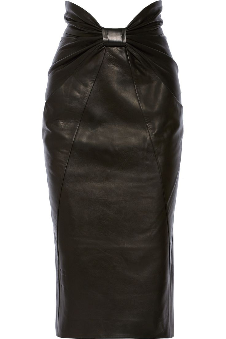 Balmain | Ruched leather midi skirt