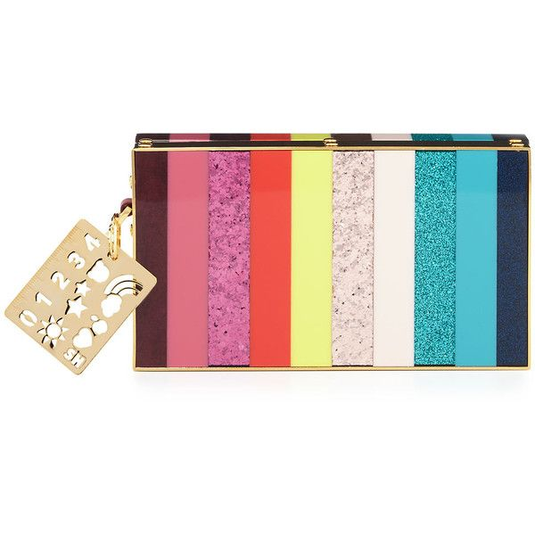 Sophie Hulme Compton Striped Box Clutch Bag ($1,295) ❤ liked on Polyvore featuring bags, handbags, clutches, handbags clutches, multi, sophie hulme purse, sophie hulme, pink purse, pink clutches and striped purse