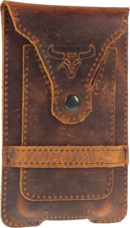 Bull's Head - Handmade of genuine leather belt pouch for iPhone 7 Plus and Samsung Galaxy S8 Plus