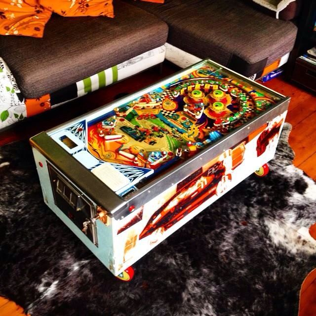 Pinball coffee table made by a mate