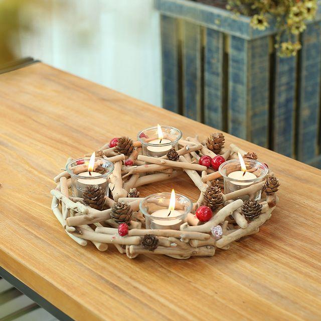 Wooden Candle Holder Home Decor Romantic Dinner Festival Wedding Candleholder Ornament weddings candlestick holder Creative