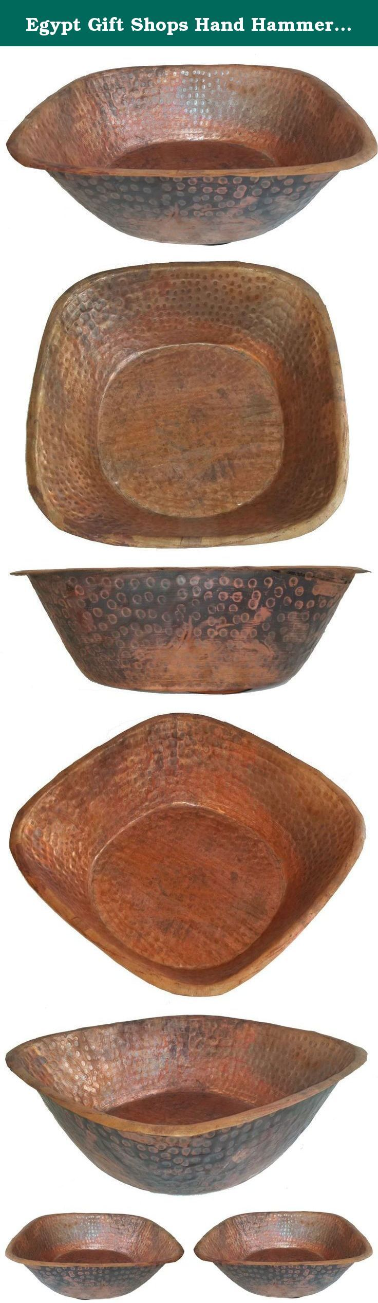 Egypt Gift Shops Hand Hammered Pair Square Copper Pedicure Foot Massage Wash Therapy Soak Bowls. Hand hammered by Egyptian artisans from pure copper. Easy handling by holding at edges. Anti bacteria, microbes or viruses. Easy maintenance. Due to the Artisan Crafted nature of our copper bowls, dimensions may slightly vary.