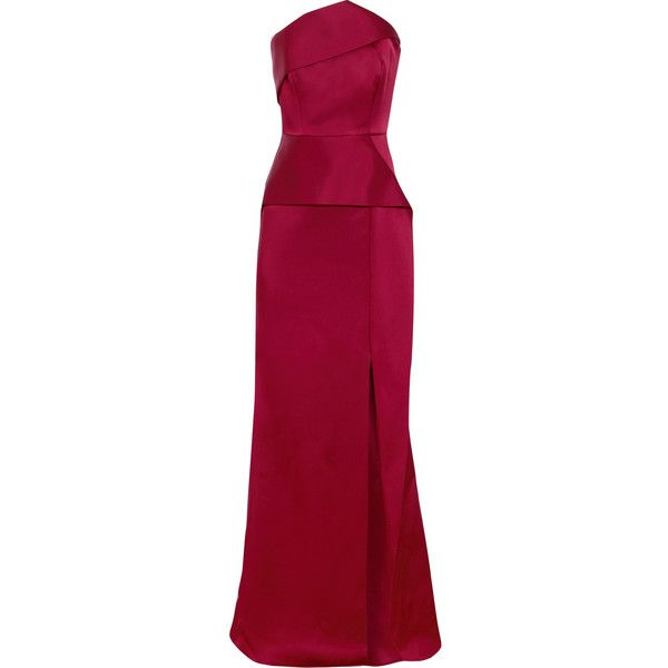 Roland Mouret Addover satin gown ($3,650) ❤ liked on Polyvore featuring dresses, gowns, gown, floor length formal gowns, purple dresses, purple ball gowns, formal dresses and formal ball gowns