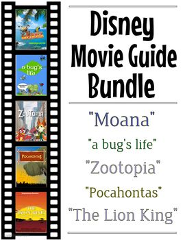 Come get this 42 page discounted offer of 5 sets of Disney movie guides. The pack includes the following movie comprehension questions + extras; Moana, A Bug's Life, Zootopia, Pocahontas and The Lion King