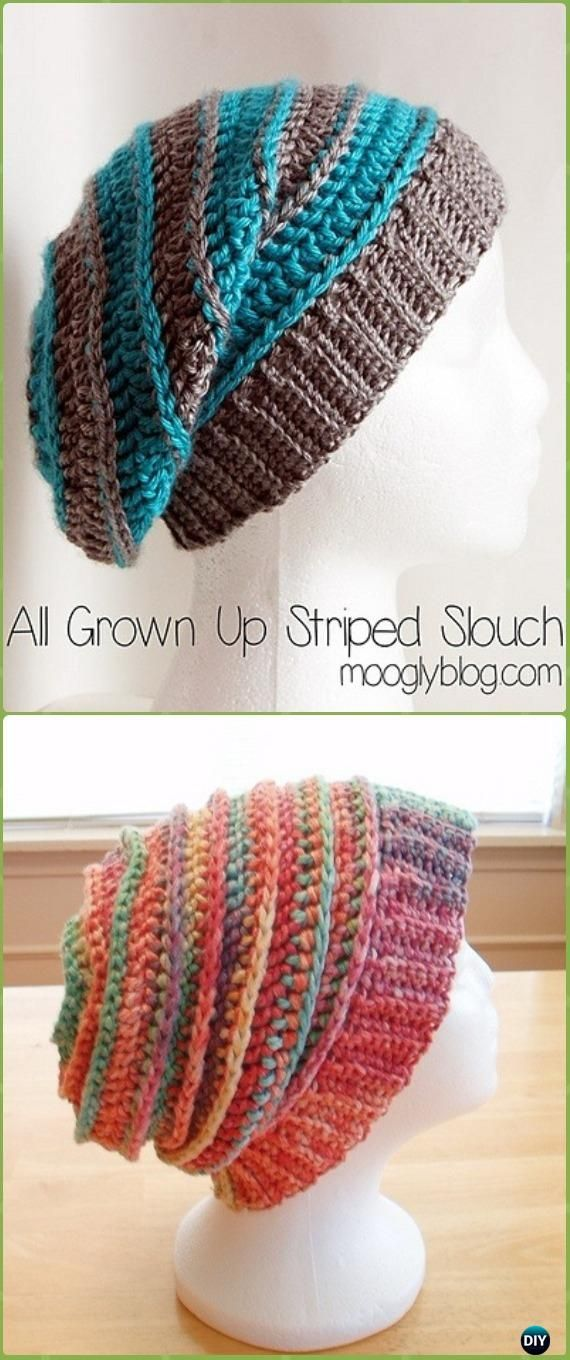 Crochet All Grown Up Striped Slouch Hat Free Patterns -Crochet Slouchy Beanie Hat Free Patterns