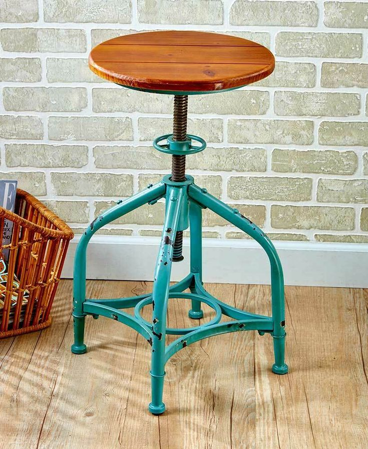 Bar stool industrial rustic stools metal adjustable height