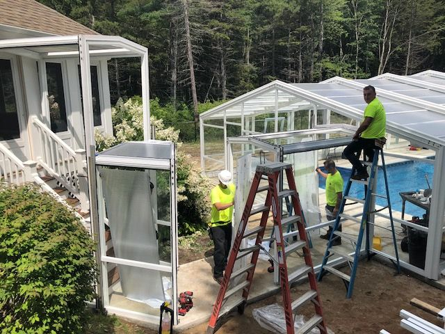 Retractable Residential Pool Enclosure Scarborough Me Pool Enclosures Roofing Systems Outdoor Pool