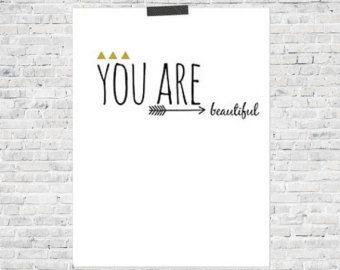 You Are Beautiful, Beautiful Print, Print, ETSY, Simple Print, Gold Print, Kids Room, Nursery