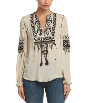 Haute Hippie Haute Hippie Talitha Embroidered Silk Blouse
