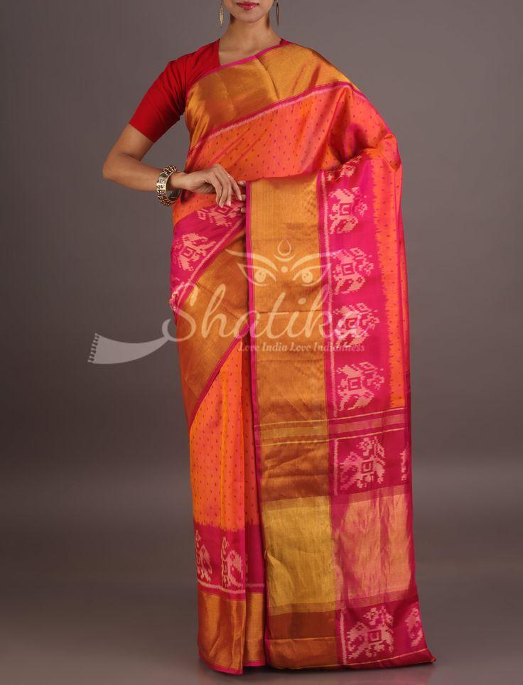 Vaishali Ravishing Polka Dotted With Broad Gold Border Festive Pure Patola Silk Saree