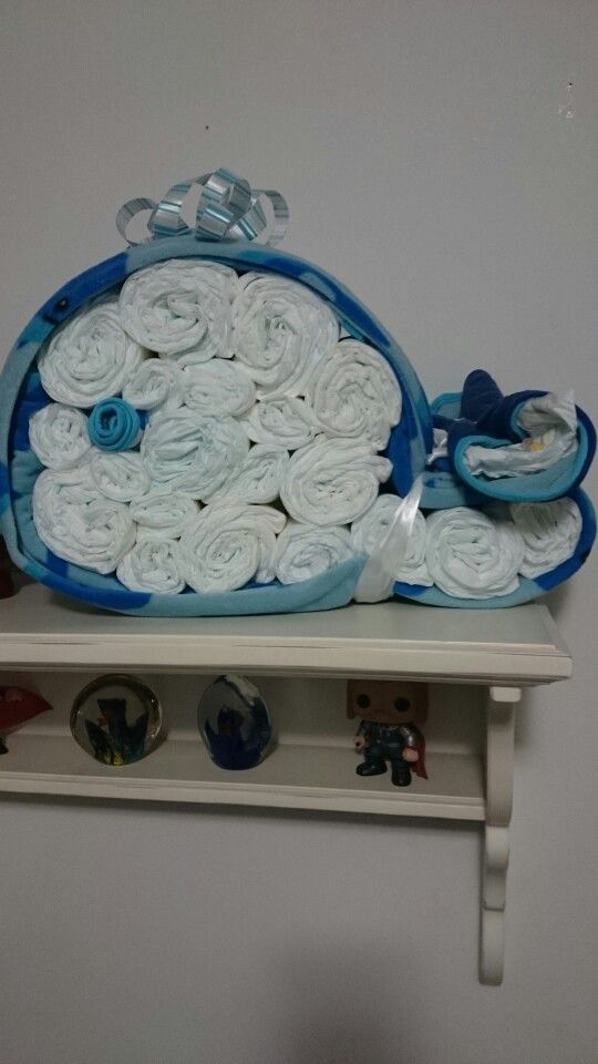 Whale diaper cake. Received this as a gift.  It's amazing