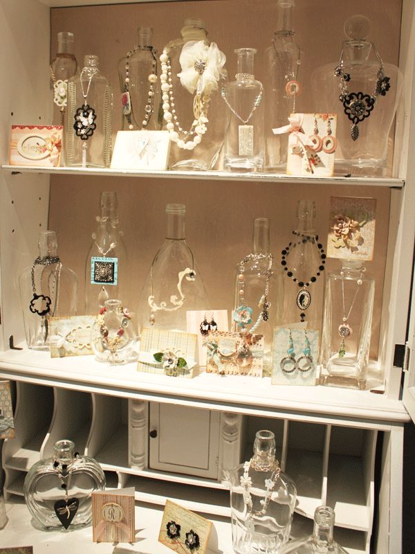 Beautiful idea--bottles to hang necklaces and shelves Something Created Everyday: CHA Day 3