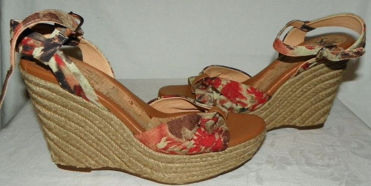 Sofft Floral Wedge Heel Sandals Shoes Open Toe 1267290 Womens Size 10M #Sfft #PlatformsWedges