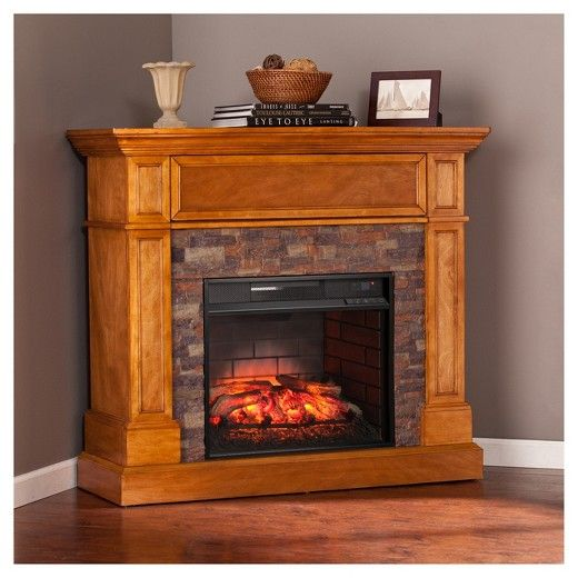 Roseshire Corner Infrared Electric Media Fireplace - Sienna - Aiden Lane