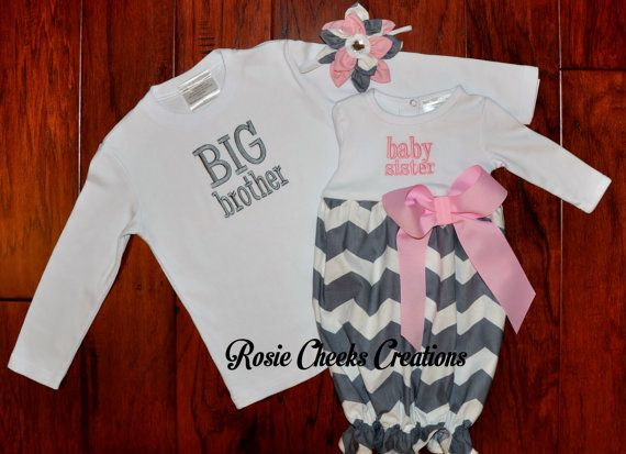 2ec7d097dcbc5 Big Brother Little Sister Baby Sister Gown Set - Gray Grey -Big ...