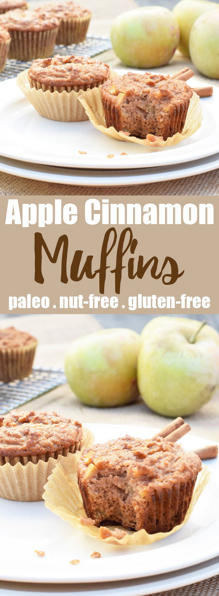 Apple Cinnamon Muffins from Living Loving Paleo!   paleo, nut-free, gluten-free & dairy-free   The perfect not-so-sweet treat, snack or breakfast on the run! These are extra delicious served warm and topped with ghee or almond butter!