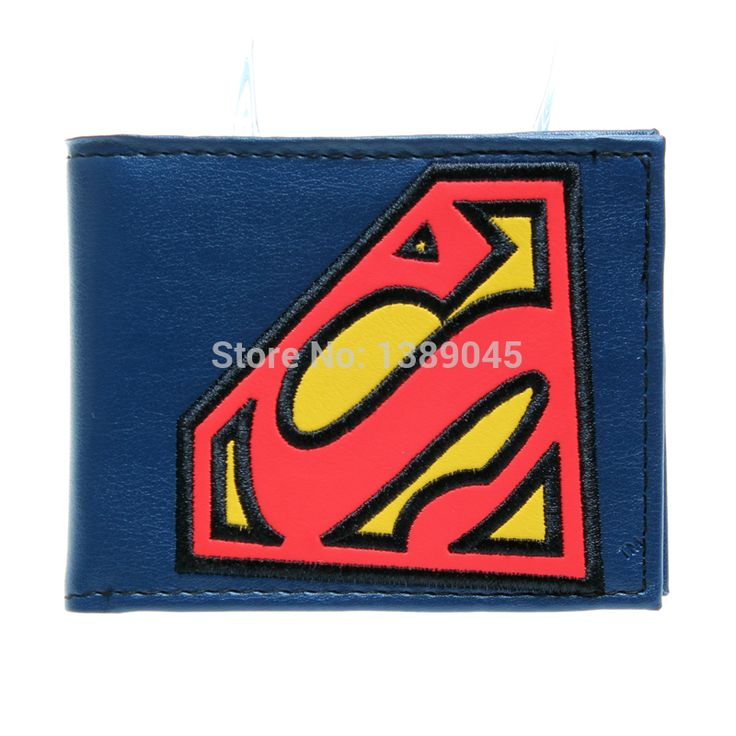 superman animated cartoon wallet purse Young students wallet purse personality Blue superman's wallet  PU DFT-1181
