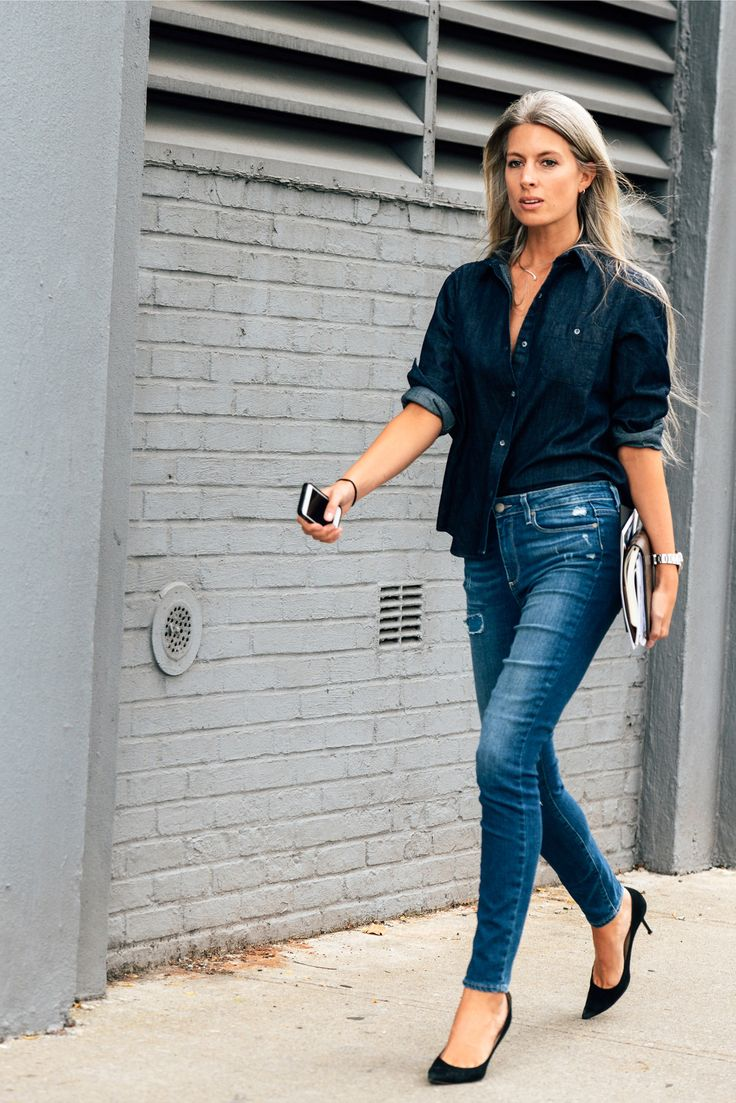 Shop this look for $74:  http://lookastic.com/women/looks/navy-denim-button-down-shirt-and-blue-ripped-skinny-jeans-and-black-suede-pumps/3679  — Navy Denim Button Down Shirt  — Blue Ripped Skinny Jeans  — Black Suede Pumps