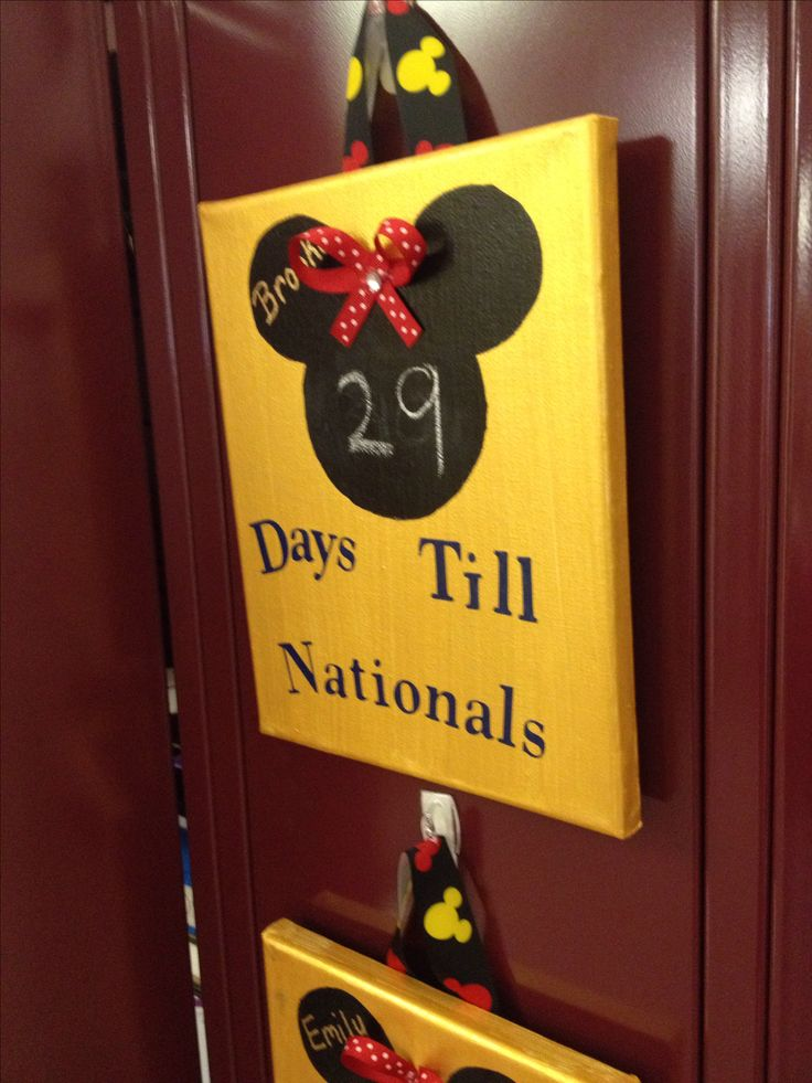 Cute locker tag idea for cheer nationals in disneyworld