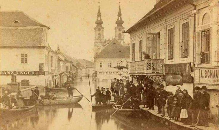 Budapest,Fő utca.Az 1876-os árvíz.Háttérben a mai Szilágyi Dezső tér,mögötte a Szent Anna templom.