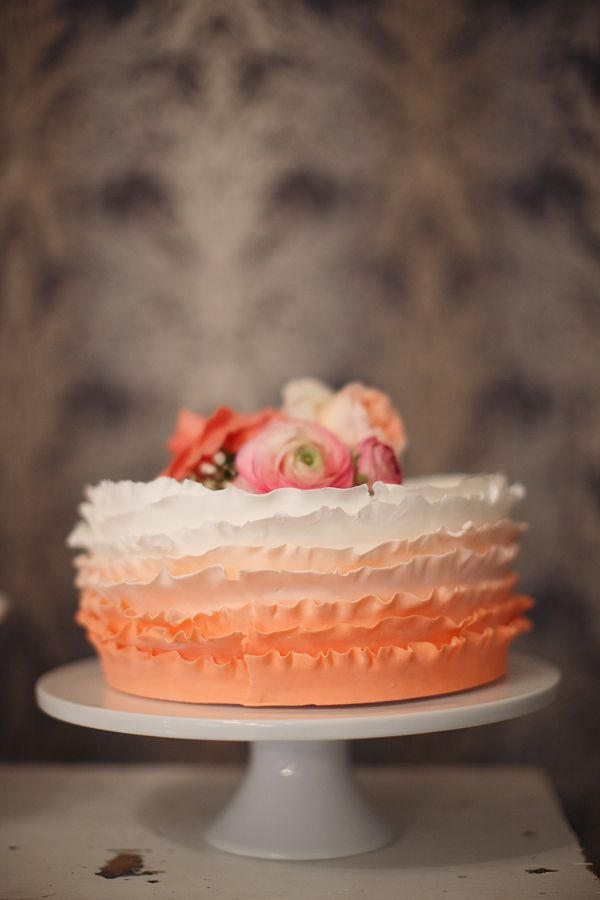 ruffle peach ombre wedding cake by Sweet Story Bakery