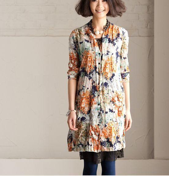 Big Flower Long Shirt Open Loose Cotton Flower Top Long Sleeve Romantic Women Dress