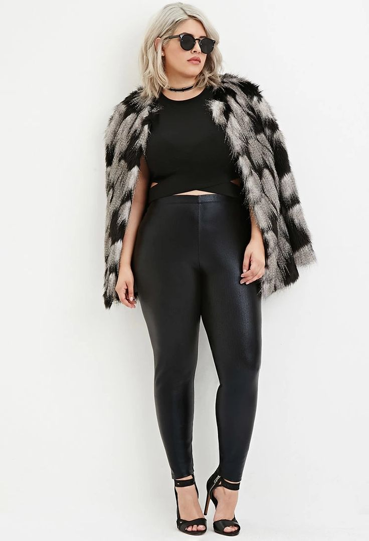 plus size ribbed faux leather leggings forever 21 plus