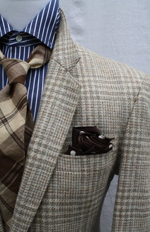 blues and browns. glen plaid sport coat. blue candy striped oxford. brown/tan plaid tie. brown pocket square. sick. style.