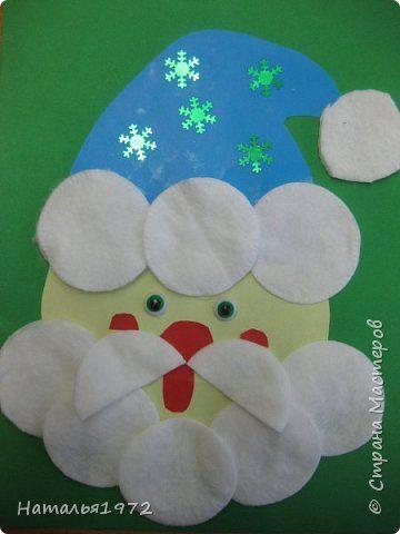 Картина панно рисунок Новый год Аппликация Дед Мороз Бумага Диски ватные Картон Пайетки фото 1
