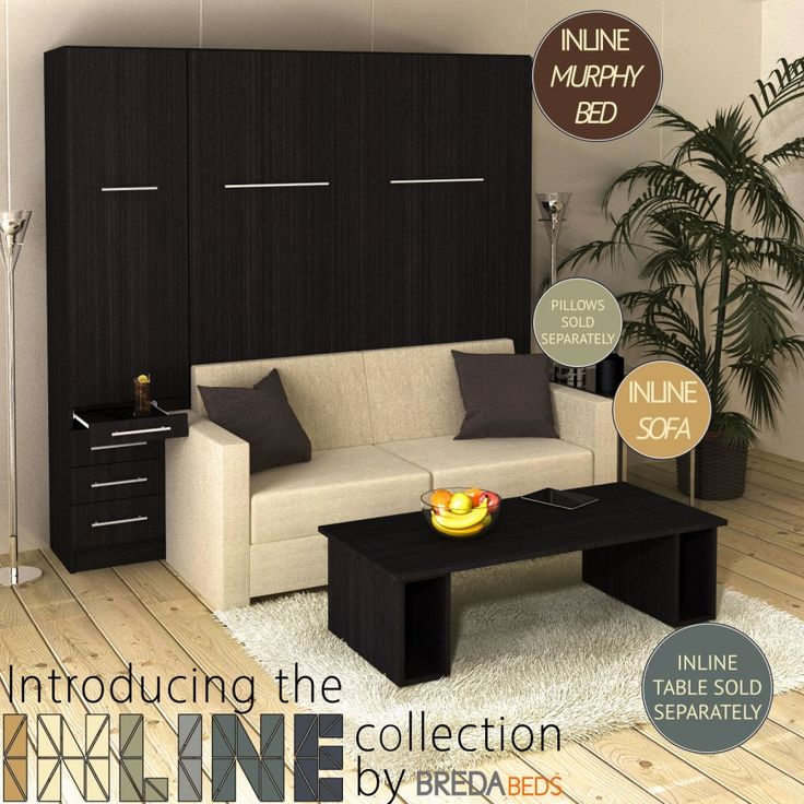 InLine Murphy Bed with Hutch and InLine Sofa