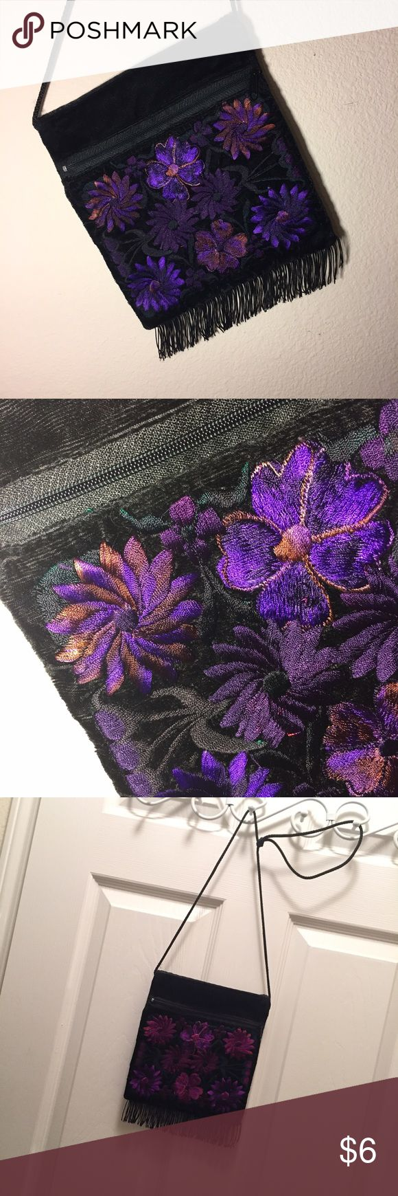 "Purple Cross-body ""passport"" fringe purse 7"" x 8"". Two compartments to hide your ID, money, a compact and a couple lipsticks. Beautiful embroidered purple design on front only (plain black on back, so you can flip it around for another iutfit). This is the ultimate essentials side-body bag. Super long string shoulder strap, can be worn across the body, or straight on. Good condition, couple fringe threads missing on wearers right side. Only used a couple times. Bags Mini Bags"