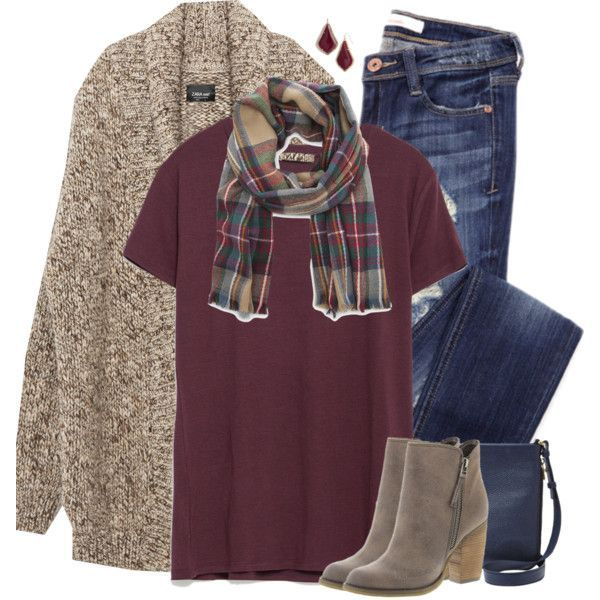 Zara oversized cardigan, burgundy tee & plaid scarf by steffiestaffie on Polyvore featuring Zara, Sbicca, FOSSIL, Kendra Scott and Sole Society
