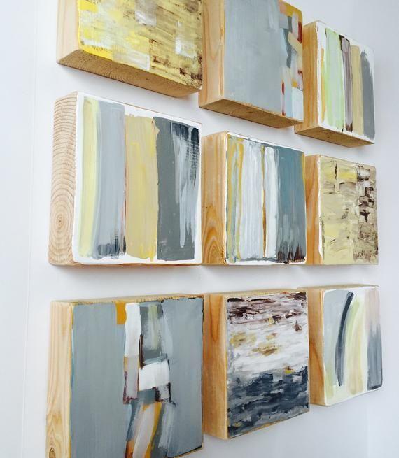 Original Bemalte Holz Block Abstrakte Malerei Moderne Wand