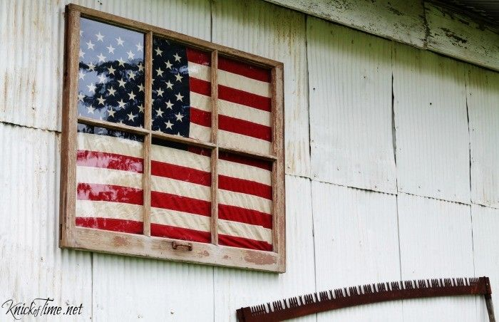Antique Window Framed Flag Display via Knick of Time at KnickofTime.net