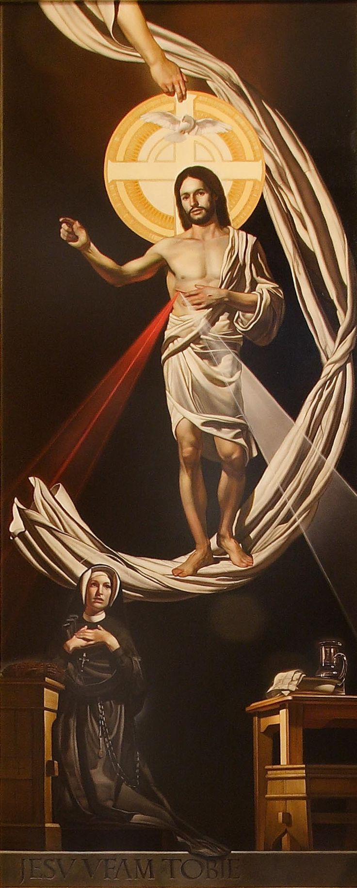 Divine Mercy and St. Faustina Kowalska. Painting in one of six side-aisle shrines in the Shrine Church.