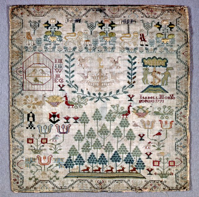 Scottish Sampler, 1771. I like groupings of pine trees, and that U-shaped border near the middle is really neat.