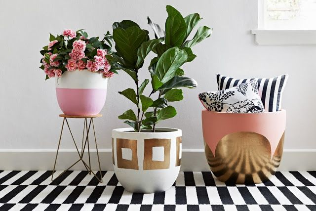 Our shop launches! Striped rug, pots by Pop & Scott, fiddle-fig leaf tree, Manuel Canovas cushion and Attic and Trunk cushion. Melbourne, Australia. HUNT & BOW