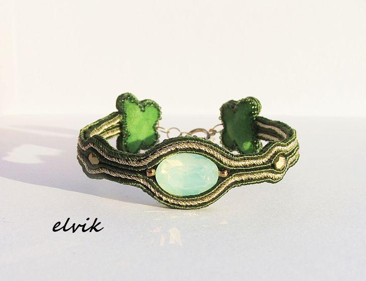 szmaragdowa bransoletka / Emerald bracelet FB - http://www.facebook.com/soutache.elvik