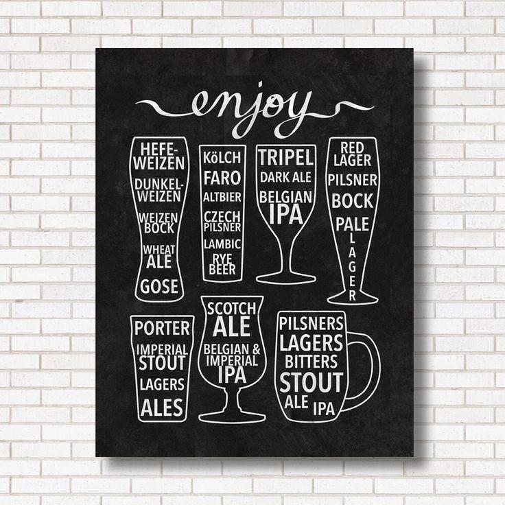 Enjoy Beer Print - Black & White - Bar Poster - Chalkboard - Craft Beer - Inforgaphic - Gift for Him or Her - Beer Lover - Brew pub - Art by HEARTprintshop on Etsy https://www.etsy.com/listing/211599680/enjoy-beer-print-black-white-bar-poster