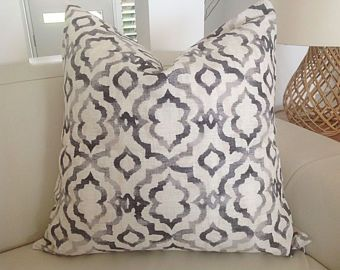 Grey Cushions  Ikat Cushion Cover, Good Vibes Pillow Cover,  Grey Linen Cushion Cover Decorative Toss Pillows, Scatter, Throw, Toss Pillows