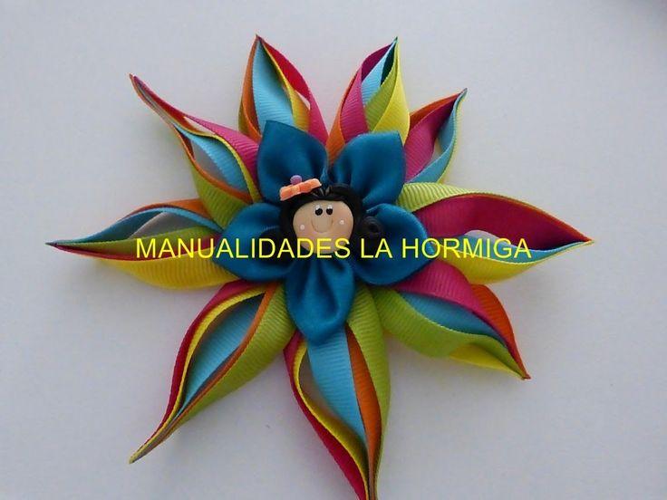 flor de puntas en cinta para el cabello paso a paso. DIY: satin ribbon f...