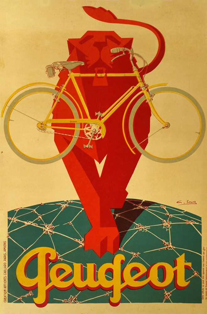 Vintage Peugeot Poster by FAVRE G. stone lithography circa 1930 $1850 http://www.gal-123.com/