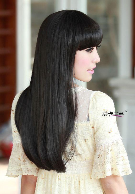 Cabello lacio corto color negro