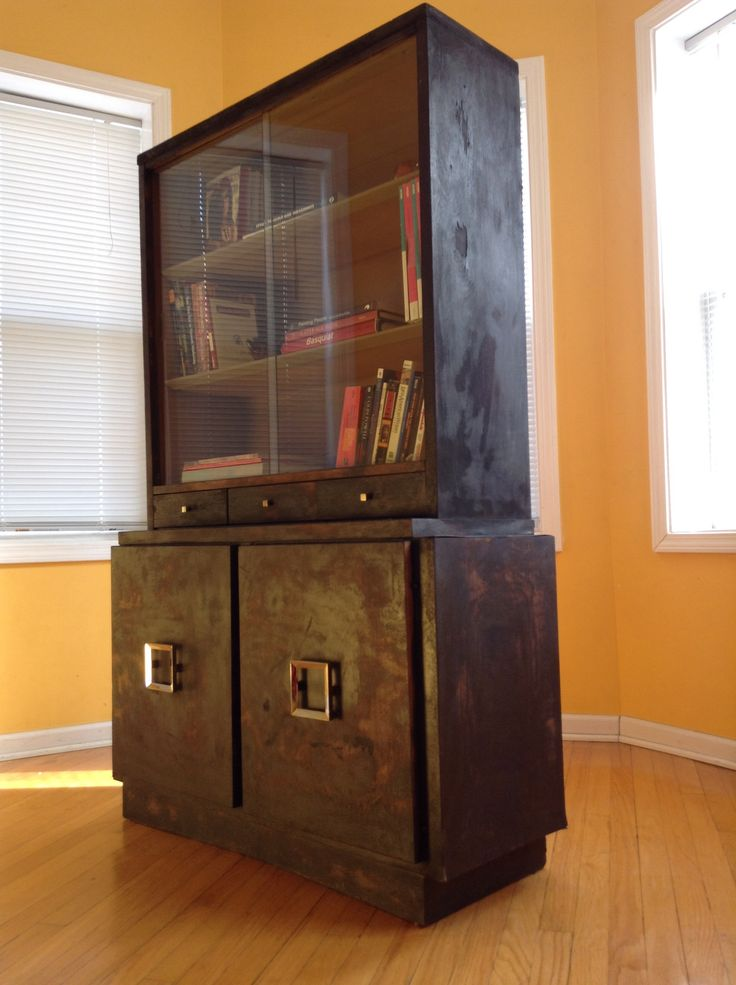 Rustic MCM Hutch / China Cabinet   Torched And Distressed By Chicago Fire  Furniture # , Torched , Mid Century , Rustic
