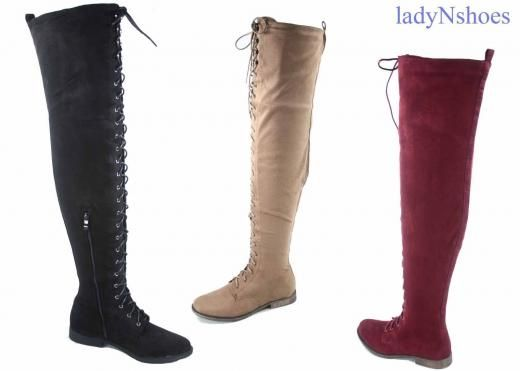 Top Moda New Women's Low Heel Lace Up Over The Knee Thigh High Combat Boots Size 5.5 - 10 Flat (0 To 1/2 In.) Synthetic Medium (b M) Cuban Casual