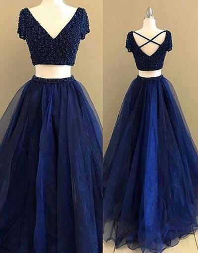 02855ff417 2019 的 Elegant Short Sleeve Two Piece Prom Dress