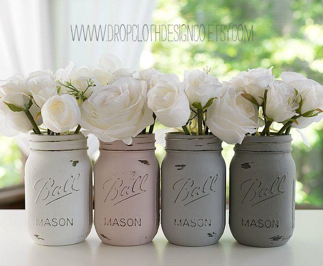 Painted Distressed Mason Jars Pink Blush