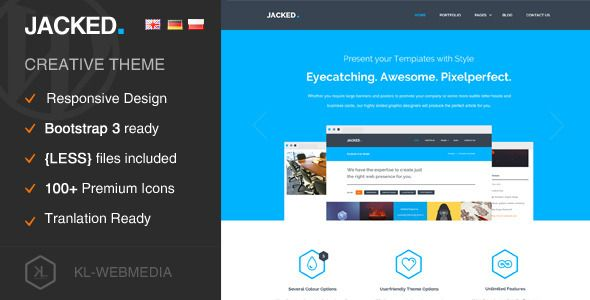 Jacked Creative WordPress Theme by KL-Webmedia on ThemeForest- #webdesign #template #inspiration #agency #bootstrap #responsive #corporate #flatdesign