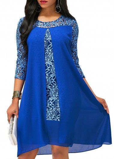 Royal Blue Asymmetric Hem Lace Patchwork Dress on sale only US$33.98 now, check it now